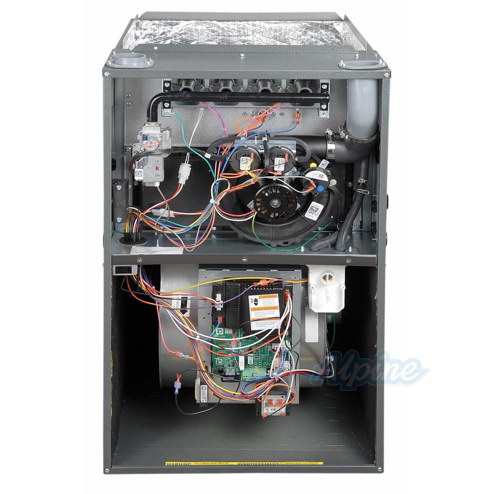 Goodman Gmvm970804cn 80 000 Btu Furnace 97 Efficiency Modulating Burner 1 600 Cfm Variable Speed Blower Upflow Horizontal Flow Application