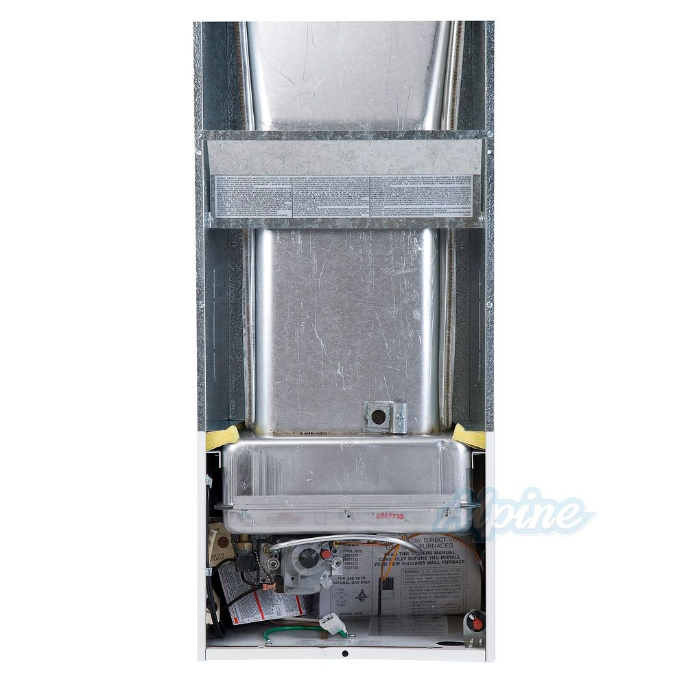 Williams 6007732 60 000 Btu 76 Afue Direct Vent Wall Furnace Bottom Air Outlet Natural Gas 115 Vac With 9809 Vent Kit
