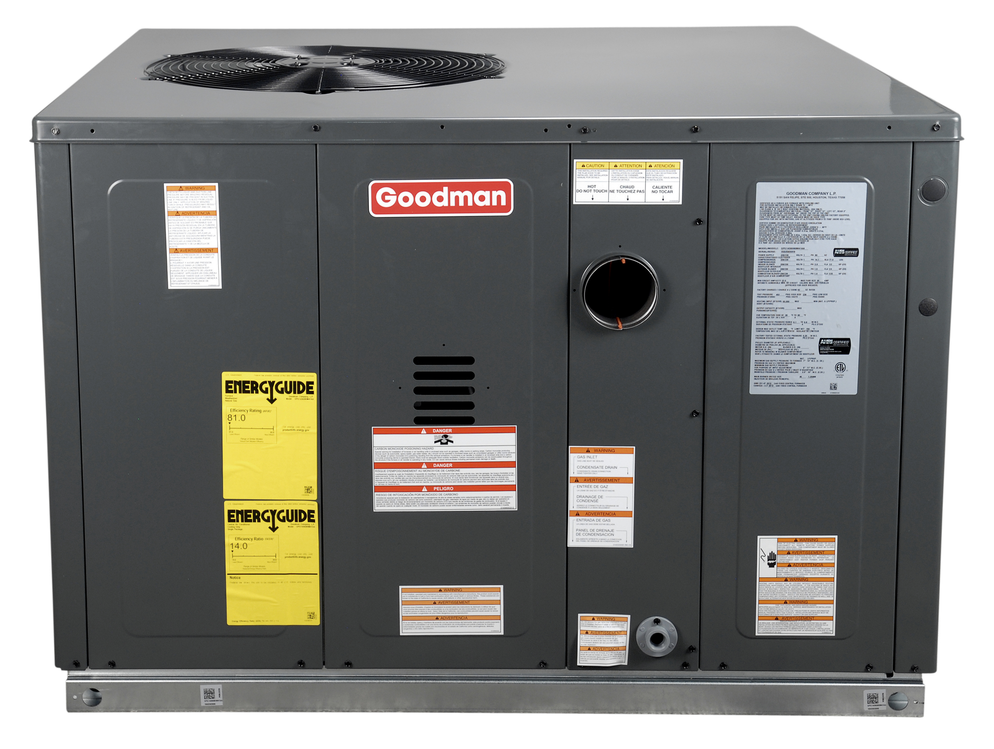 Goodman Gpg1436080m41 3 Ton Cooling 80 000 Btu Heating 14 Seer Furnace Wiring Diagram For Gas Units 80000 Heating14 Package Unit R 410a Refrigerant Multi Positional