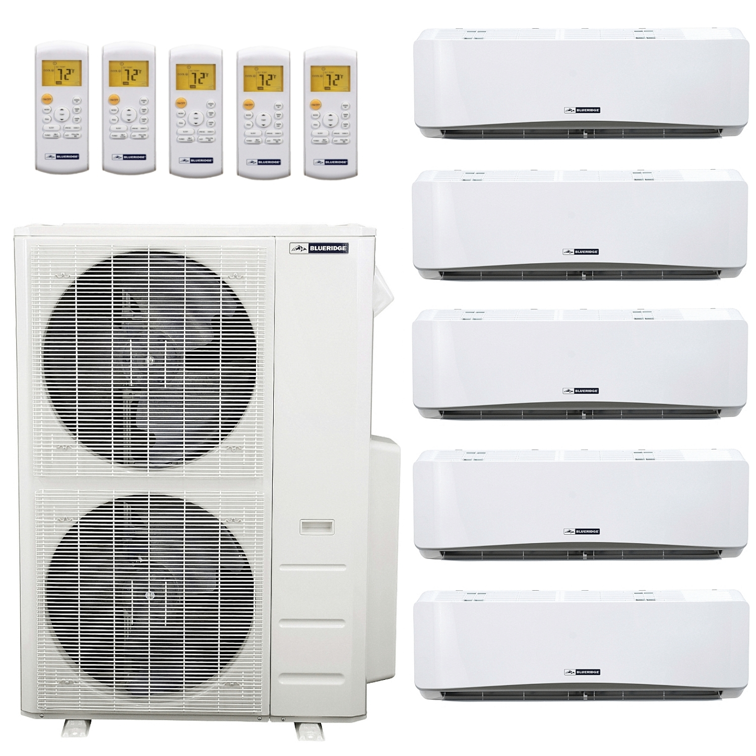 Blueridge 48,000 BTU 21 5 SEER Ductless Mini-Split Five Zone Heat Pump